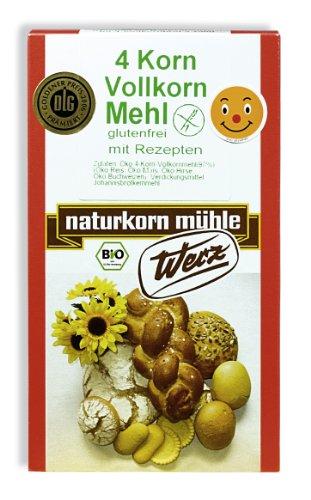 Werz 4-Korn-Vollkorn-Mehl glutenfrei, 2er Pack (2 x 500 g Karton) - Bio