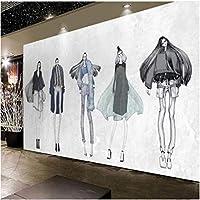 Iusasdz カスタム3D壁紙レトロ手描き美容衣料品店ツーリングウォールレストラン美容院装飾絵画壁紙-200X140Cm