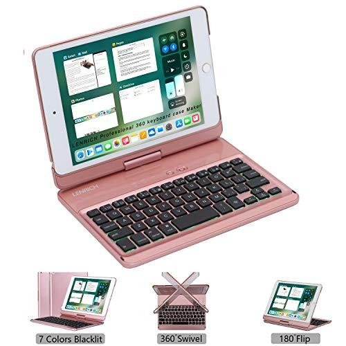 LENRICH iPad Mini 5 2019 case with Keyboard for iPad Mini 4 2015 7.9 inch Backlit, 7 Color Backlight 360 Degree Rotatable 180 Flip Swivel Wireless Folio Cover Hard Shell Auto Sleep Wake up Rose Gold