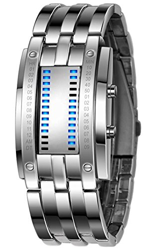 shot-in Luxury Men's Waterproof Stainless Steel Date Digital LED Bracelet Sport Watches (Silver)