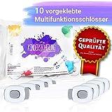 PIHU Kindersicherung (10x) - Vom TÜV Rheinland geprüft - Multifunktionsschloss für Schubladen, Schränke, Türen, Mülleimer, Kühlschränke (Sicherheit für Babys und Kinder)