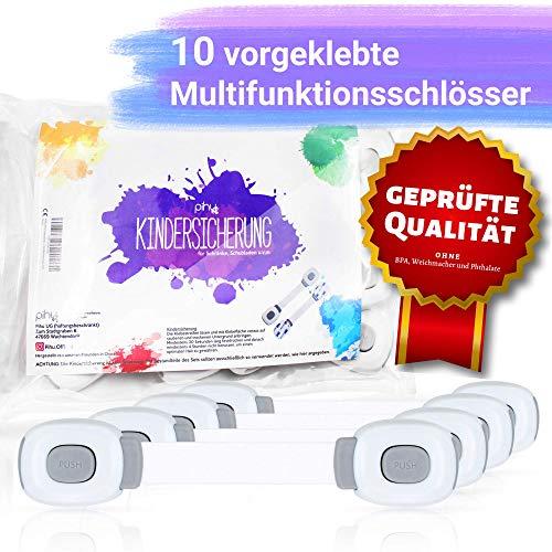 PIHU Kindersicherung (10x) - Sicherheitsset - Multifunktionsschloss für Schubladen, Schränke, Türen, Mülleimer, Kühlschränke (Sicherheit für Babys und Kinder)