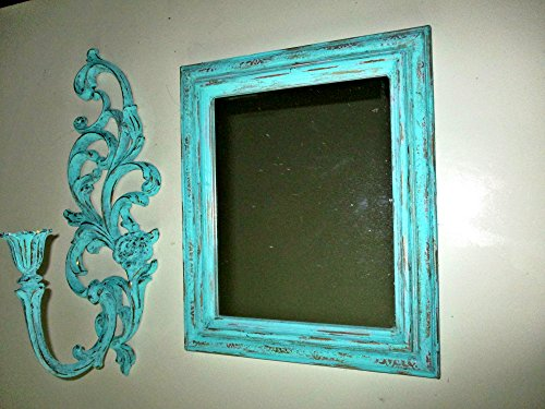 Wall Mirror, Wall Candle Holder, Wall Sconce, Shabby Chic, Upcycled Vintage, Distressed Mirrors, SYROCO Wall Art, Mint Green, Baroque Design, Mediterranean Wall Decor, Wall Accents