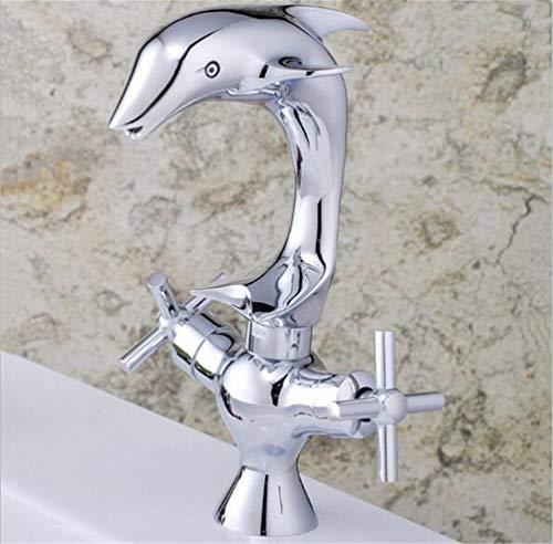 BKWZA Chrom Waschtisch-Armatur Bad Doppelhebel Delphin Bassinhahn Waschbecken Wasserhahn Luxus-Waschtischarmatur Mit Kalt- Und Warmwasseranschluß Retro-Stil