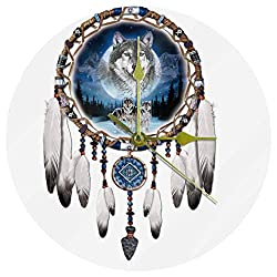 MEETNew Wolf Dream Catcher Decorative Round Wall Clock Non Ticking Silent, 10 inch Acrylic Battery Operated Wall Clock for Bedroom/Living Room/Office/Kitchen Home Decor