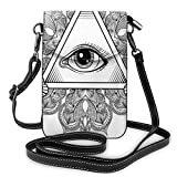 Jiger Women Small Cell Phone Purse Crossbody,Vintage All Seeing Eye Tattoo Symbol With Boho Mandala Providence Spirit Occultism
