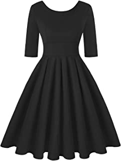 Women's 1950s Retro Vintage Cocktail Party Short Sleeve Swing Dress