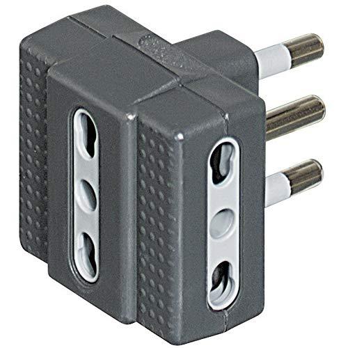 BTicino S3604G Kit Adattatore Tris, 3 Prese Bipasso, 10/16 A e Spina 16 A, Blister 90x122 mm, Antracite