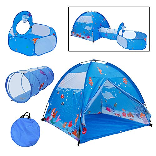 MXYPF 3in1 Kids Tent with Tunnel, Ball Pit with Basketball Hoop, Ocean Play Ball Pool, Indoor & Outdoor Pop-Up Tent for Boys Girls and Toddlers