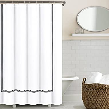 Echelon Home Collection Black Hotel Three Line Shower Curtain