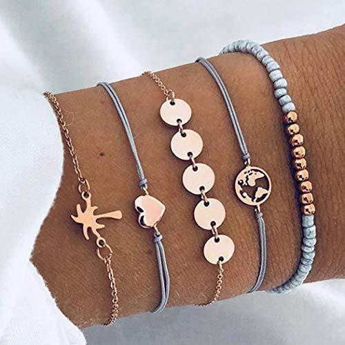 Handcess Juego de pulseras de lentejuelas bohemias con diseño de corazón dorado y hojas de mapa, cadena de mano, accesorios de mano para mujeres y niñas (5 piezas)
