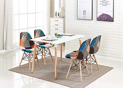 Ansley&HosHo Retro White Wood Dining Table and Chairs Set of 4, 5 Pieces Kitchen Set Including 4 Occasional Patchwork Fabric Chairs with Rectangular Dining Table for Small Space Apartment