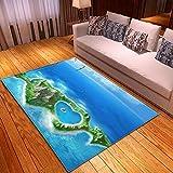 Alfombra Estampada Isla del Amor Azul y Verde Alfombra Moderna Lavable Duradera Anti-desvanecimiento 80 x 160 cm Antideslizante Salón Alfombra Cocina Alfombra