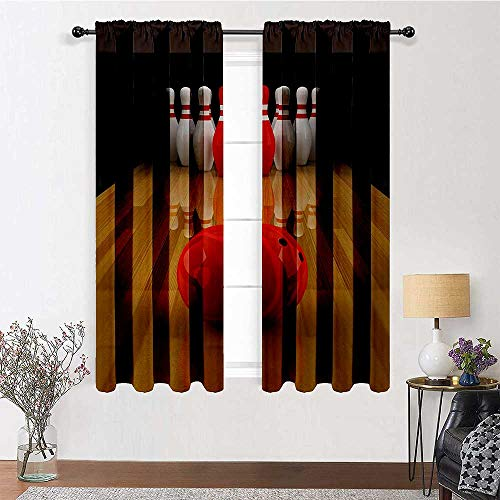 """Room Darkening Curtain Bowling Party Soundproof Window Curtain Panels Alley with Red Skittle in Center Target Score Winning Competition for Kid's Bedroom 2 Rod Pocket Panels, 42""""W x 54""""L"""