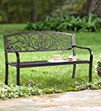 Patio Garden Bench Outdoor Metal Bench Park Yard Furniture Cast Iron Loveseats with Armrests for Porch Backyard Lawn Deck