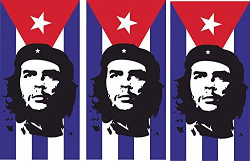 Etaia 2,5x5 cm - 3 x Mini Aufkleber Che Guevara auf Kuba Cuba Fahne/Flagge Sticker fürs Fahrrad Motorrad Auto Bike Handy Laptop Fahrradaufkleber