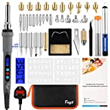 Fuyit LCD Wood Burning Kit 42Pcs Pyrography Thermostatic Digital-Controlled Pen Set Wood Craft Tools for Wood Burning/Soldering/Carving/Embossing Adjustable Temperature 180°C- 480°C