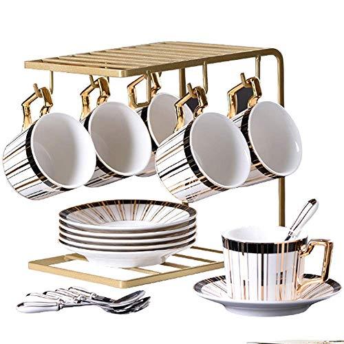 Porselein Tea Sets Coffee Sets, Tea Pot, Bone China Kopjes met metalen houder Matching lepels, Afternoon Tea Set Dienst Reeks van de Koffie