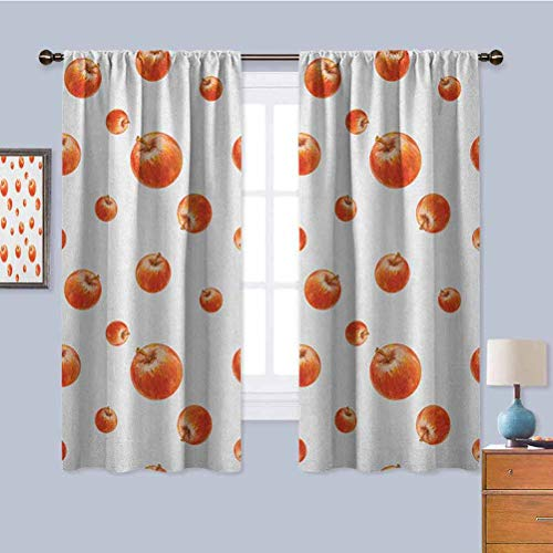 Apple Black Out Window Curtain, Curtains 63 inch Length Watercolor Style Cameo Apples Abstract Kitchen Elements Brush Stroke Effects Privacy Protection Vermilion White W72 x L63 Inch