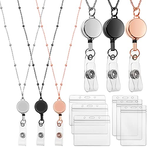 Retractable Badge Reel Lanyard with ID Holder, 3 Pieces Beaded Badge Lanyard Necklace with 6 Waterproof Name Card Holder Stainless Steel ID Holder Necklace for Women Men (Rose Gold, Black, Silver)