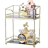 Simmer Stone Makeup Organizer Shelf, 2 Tier Cosmetic Storage Basket with Removable Glass Tray, Wire Vanity Organizer Rack for Bathroom, Dresser, Countertop and More, Stackable Assembly