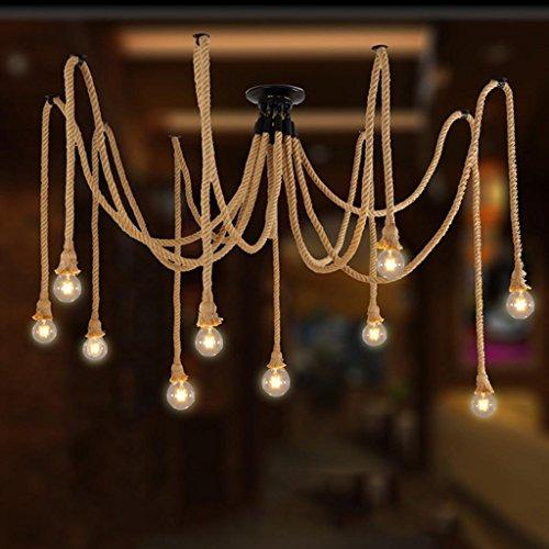 Lumière créative d'araignée de chanvre village américain rétro éclairage restaurant bar café magasin de vêtements lustres