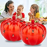 Allinall Fruit Fly Traps,2 Pack Effective Gnats Trap Fruit Fly Traps for Indoors Home Dining Areas Kitchen,Safe Non-Toxic Lure Fly Catcher and Gnat Killer Traps Fruit Fly Killer,Pumpkin Shape,Red