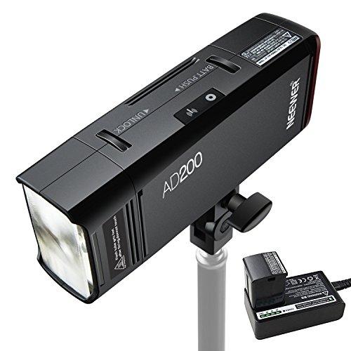 Neewer AD200 200Ws 2.4G TTL Flash de Destello al Aire Libre 1/8000s HSS Monolight sin Cuerda con Batería de Litio 2900mAh, Cabeza de Flash de Desnuda Bombilla/Speedlite