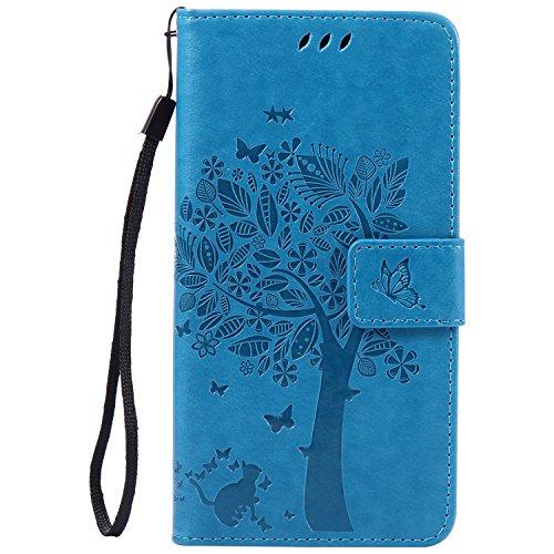 Lomogo Xperia Z3+ (Z3 Plus) Hülle Leder, Schutzhülle Brieftasche mit Kartenfach Klappbar Magnetverschluss Stoßfest Handyhülle Case für Sony Xperia Z3+ (Z3Plus) - EKATU24183 Blau