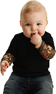 Newborn Baby Boy Tattoo Printed Long Sleeve Bodysuits Patchwork Romper Autumn Bodysuit Solid Jumpsuits