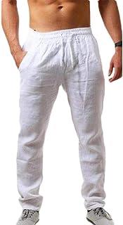 pujingge Men Drawstring Beach Pant Summer Cotton Linen Loose Jogger Pants