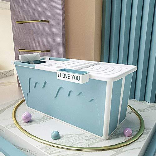 NOTREPP Bañera Plegable para Adultos, Artefacto Plegable De Plástico De La Bañera, Cubo Espesado, Aislado con Tapa,Blue