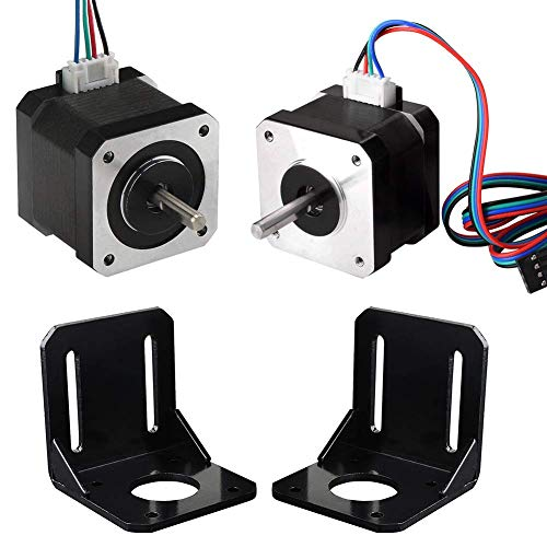 Professional Kit for 3D Printer 2 Pieces Nema 17 Stepper Motor 1.7 A 59 Ncm (84 oz.in) 47 mm with 2 Cables for Bipolar Stepper Motor Support 2PCS, L