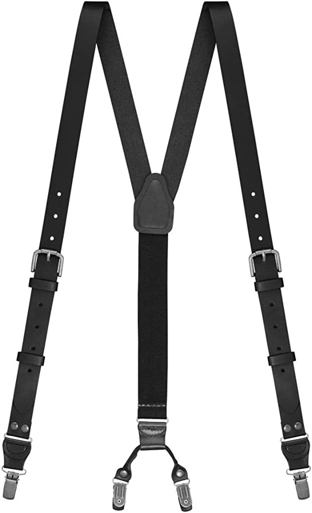 SuspenderStore Men's Buckle Strap Leather Suspenders - 1-Inch, Clip