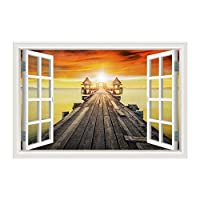 YIBOKANG 3Dウィンドウの風景60 * 90センチの壁のステッカークリエイティブポンツーンサンセットシーサンセットウィンドウステッカーリビングルームベッドルーム子供部屋装飾ウォールステッカー (Color : 8)