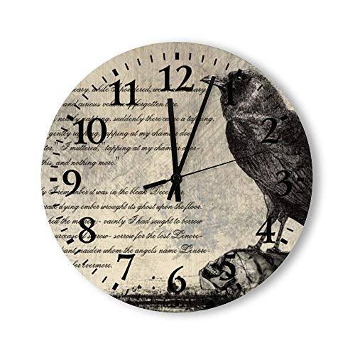 Tamengi The Raven Distressed Style Gothic Horror Round Wall Clock, Rustic Silent Clocks Farmhouse Cabin Country Home Decor
