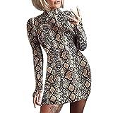 beautyjourney Mini Vestido de Cadera con Estampado de Serpientes para Mujer Vestido de cóctel Delgado con Cuello Alto y Manga Larga Vestido de Fiesta Corto Bodycon