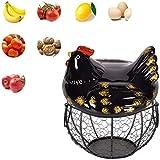 Soporte de cerámica rústico para huevos, cesta de almacenamiento de aperitivos...
