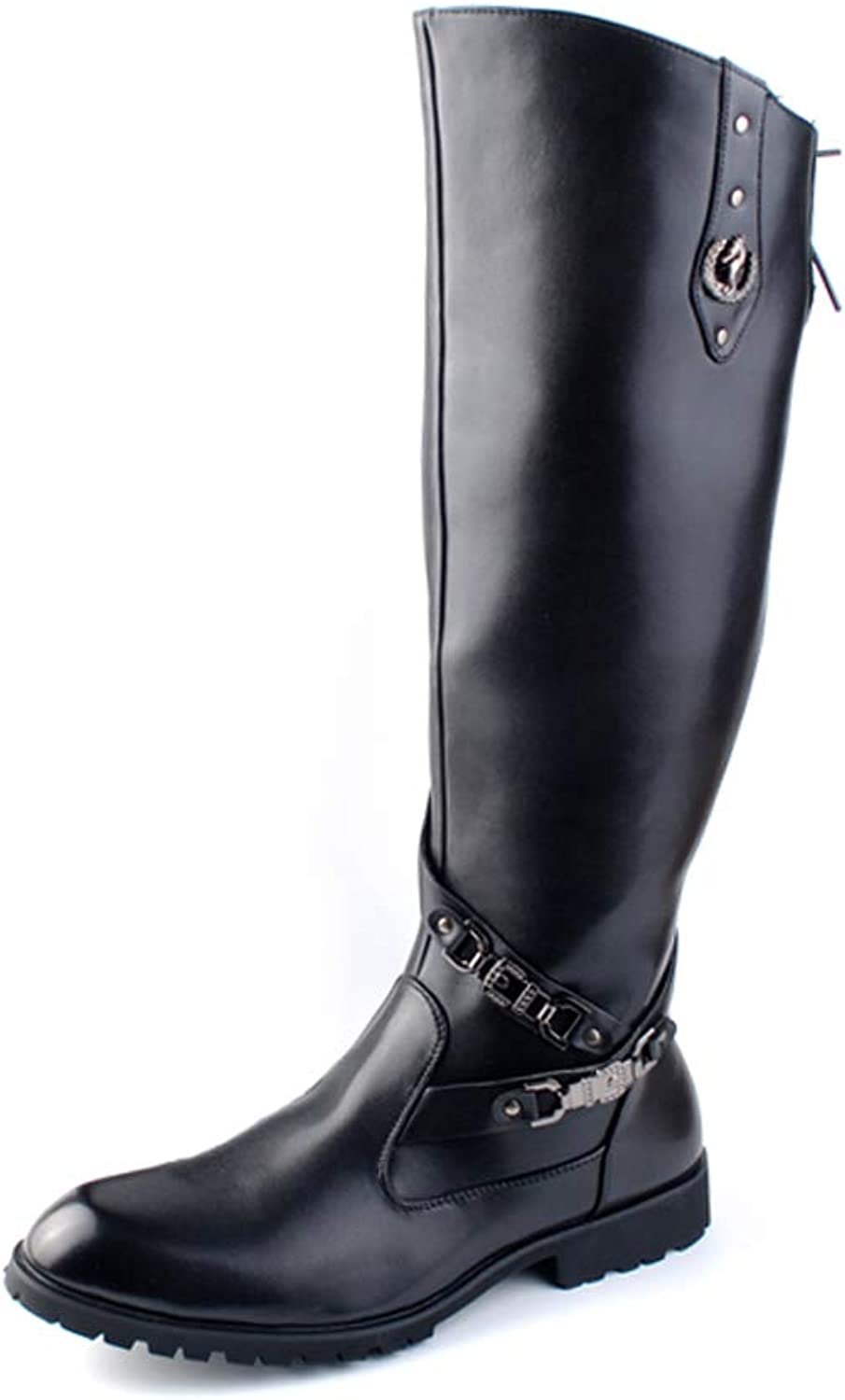 YIJIAN-SHOES Comfortable Boots Men's Fashion comfortable Motorcycle Boots Casual Personality Rivet Rustproof Metal LOGO Knee High Boot Breathable Boots (color   Black, Size   6 UK)