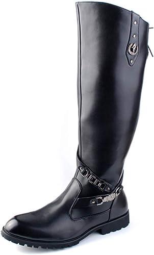 Jaypar Bottes De Moto De La Mode des Hommes Personnalité Rivet Métal Antirouille Logo Genou Botte Haute (Couleur   Noir, Taille   41 EU)