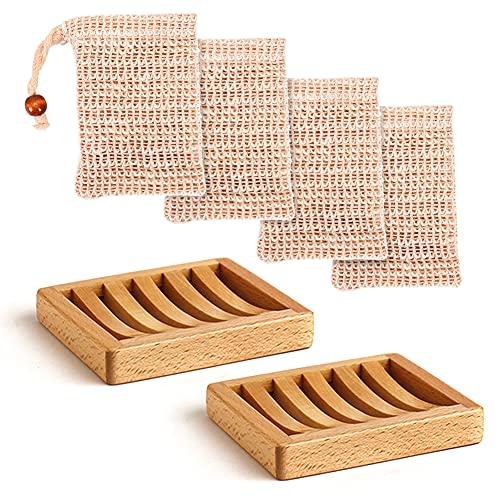 2 Piezas Jaboneras de Bambú, Producción Natural pura Drenable Hecha a Mano 4 Piezas Bolsa de Jabón para Ducha de Cuerpo y cara Jabón, Esponjas y más