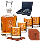 Premium Custom Whiskey Decanter Sets - Liquor Gift For Military Men In Army, Navy, Air Force, Coast Guard, Marine - Active Or Retired - For Husband, Dad, Son - Customized By Name & Rank - By Froolu