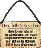 Targa in metallo divertente con scritta in lingua inglese 'Liebe Toiletenbesuch', idea regalo per i fan 18 x 12 cm