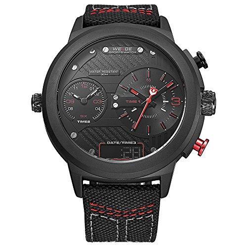 WEIDE hombres de moda reloj de pulsera de cuarzo de deporte Militar analógico Digital de tamaño extragrande trinal tiempo zona, calendario, correa de nailon (rojo)