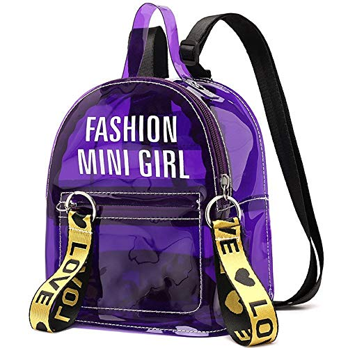 Clear Mini Backpack Purse Stadium Approved Women Transparent Handbag Casual Daypack Shoulder Bags for School,Concert, Security Travel &Sports(Purple)