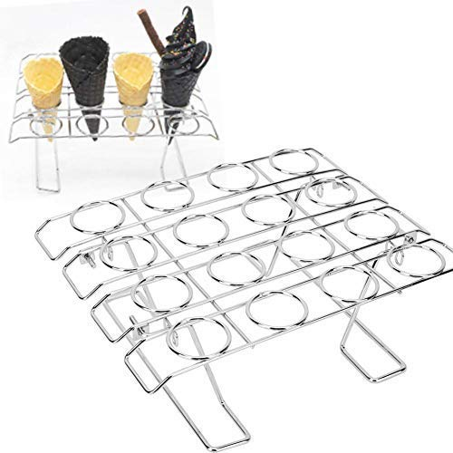 Ice Cream Cupcake Cone Baking Rack 16 Slots Stainless Steel Cone Stand Holder Display Cooling Cake Foldable Cake Decorating Pastry Tray