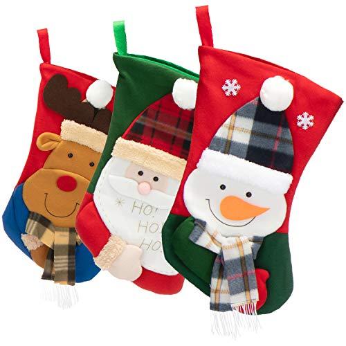 com-four® 3X Premium Weihnachtsstrumpf XL zum Befüllen - Nikolausstiefel zum Aufhängen - Weihnachtsdekoration in verschiedenen Design - Nikolausstrumpf 43 x 27 cm