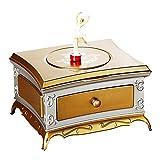 XXYHYQHJD La Caja de música Espejo de Maquillaje del cajón Bailarina del Baile de la Muchacha Caja de música de los niños de Juguete de Regalo Musical (Color : Golden Grey, Size : Gratis)