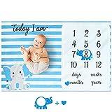 Eunikroko Baby Monthly Milestone Blanket Boy Blue Elephant Blanket Organic Plush Fleece for Newborn Baby Boy Photography Background Prop Soft Blanket with Frame