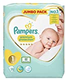 Pampers Newborn Baby Diaper Size 1 Nappy Premium Protection Giant Jumbo Pack 2 X 72 = 144Nappies Designed Especially for Your Babys Delicate Skin